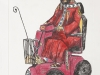 St Scooterius. Hand coloured drypoint.