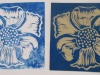 Lino prints with water based ink.