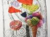 Intaglio and chine collie . Alan Birch print workshops in school.