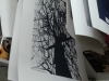 Pete Cave etched lino tree prints waiting to dry, printed at Prospect Studio with Alan Birch.