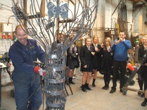 Pupils and teachers from St Ambrose RC Secondary School visit Luke Listers ,Blacksmith