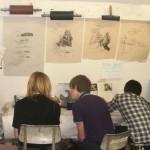 Jasper Howard, Tom and Hugh Spencer making prints