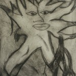 Drypoint print inspoired by work of Kenn Kiff