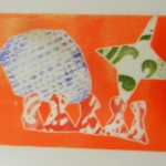 Relief prints inspired by Gillian Ayres