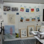 The studio of Alan Birch with new lino cuts