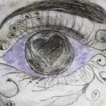 Eye collage print. School workshop with Alan Birch