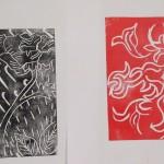Alan Birch art workshop, relief printing.