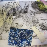 Mixed media prints with workshop leader Alan Birch.